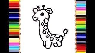 Как нарисовать Жирафа / мультик раскраска Жираф для детей / учим цвета