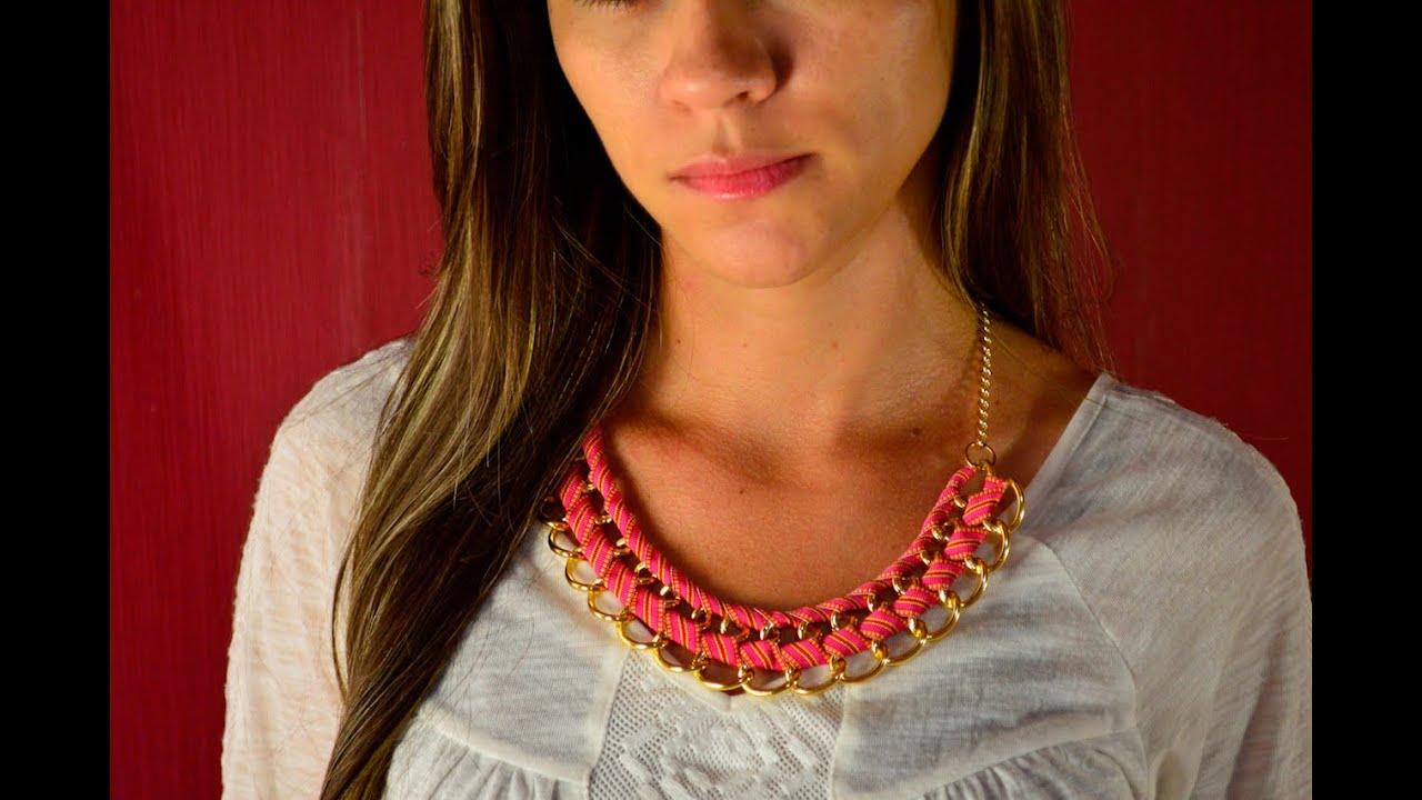 bc32d1465608 Como hacer un collar con cadena y cinta de tela