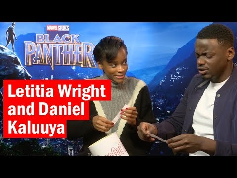 Letitia Wright and Daniel Kaluuya   Black Panther Bucket of Questions