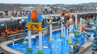 Круизный лайнер. Зона бассейнов. Остров Миконос.(Видео-зарисовка манёвра лайнера MSC