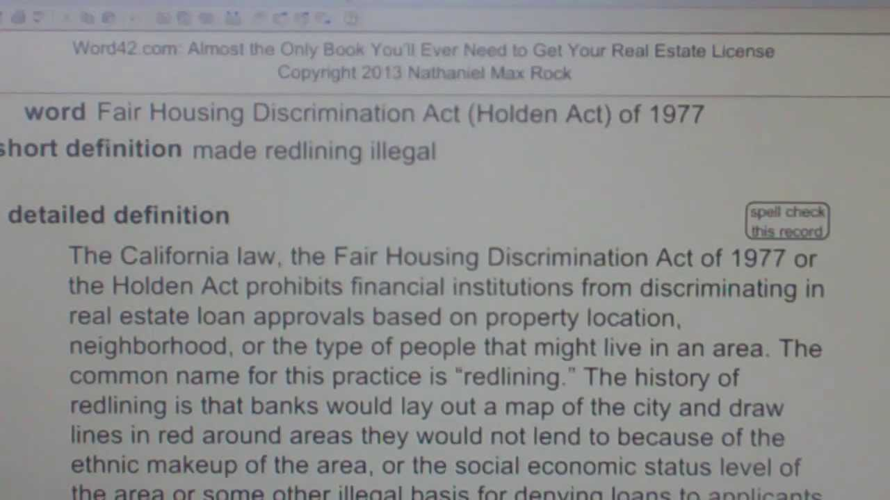 Fair Housing Discrimination Act (Holden Act) of 1977 CA
