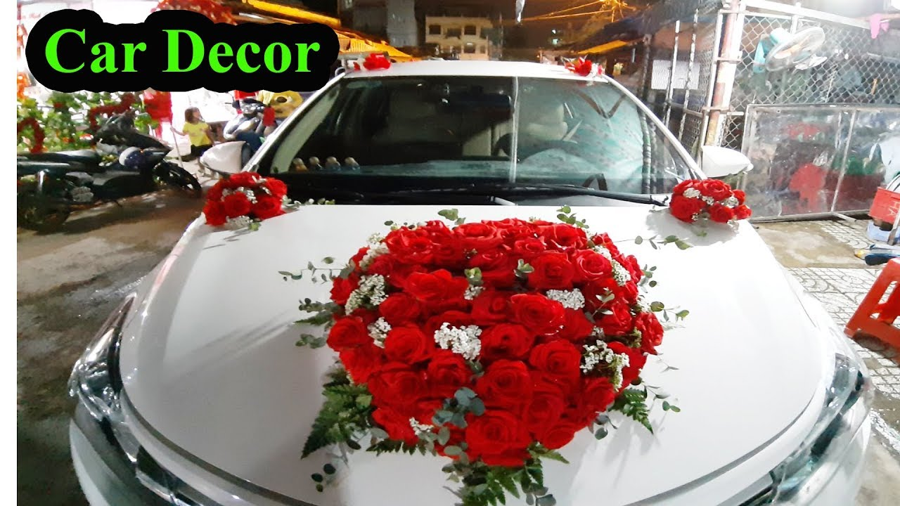 Wedding Car Decorations Red Style Wedding Flower Decor Youtube