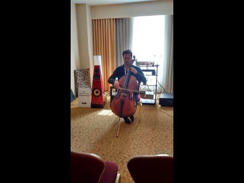musical accompaniment Grande Avant Garde Speakers with Vincent Belanger on Cello