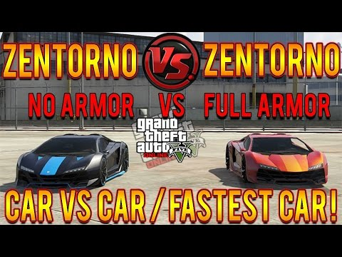GTA 5 Zentorno (No Armor) Vs Zentorno (Full Armor) Does Armor Slow Speed? Armor Weight Test!