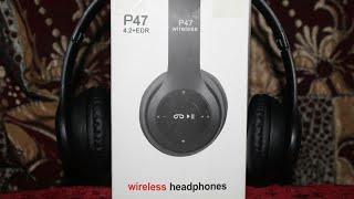 p47 wireless headphones unboxing and review Abdullah Tariq