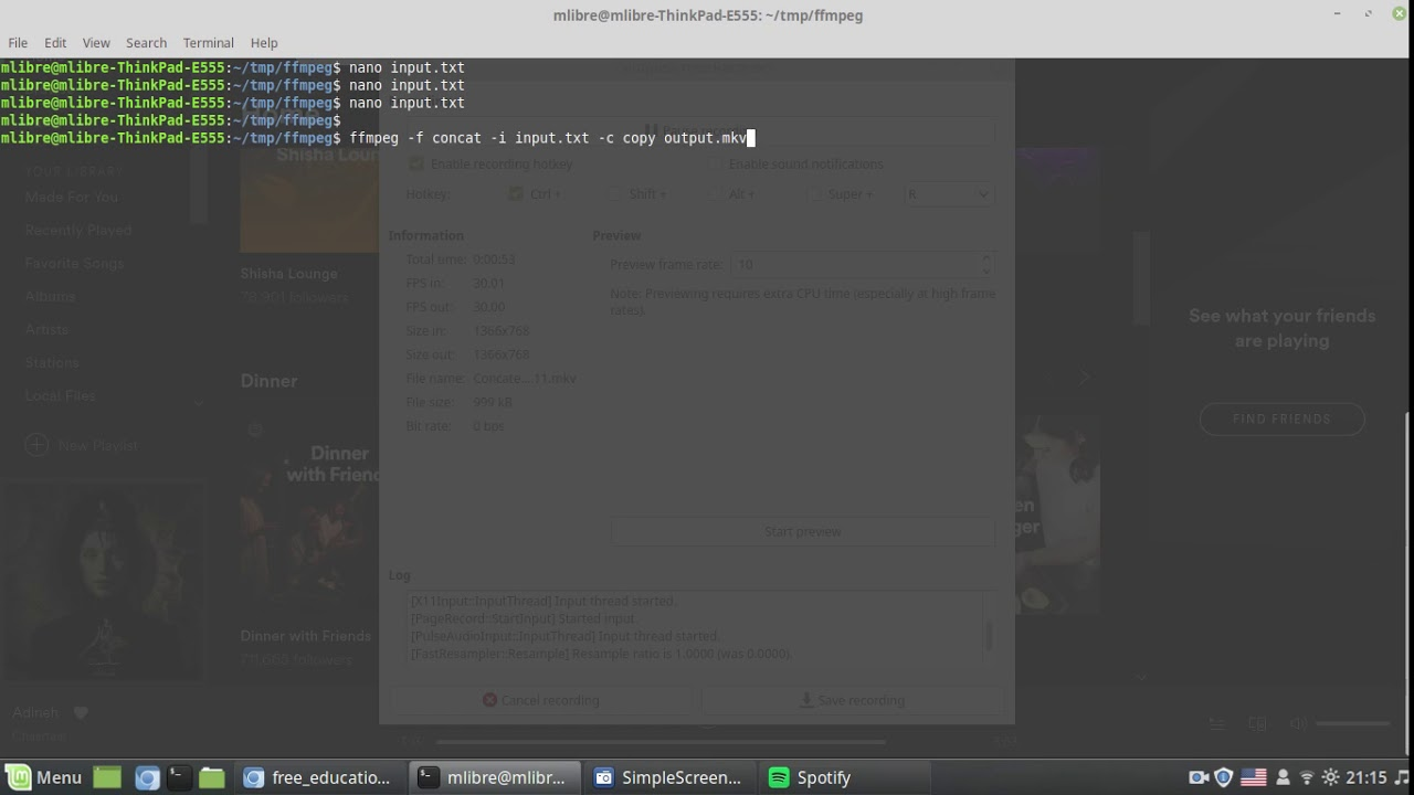 Concatenate video and audio file using ffmpeg