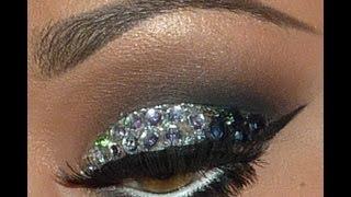 Smokey Eye Makeup Using Rhinestones