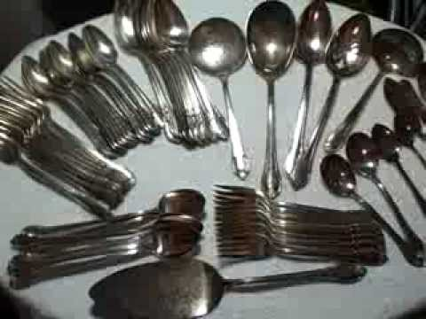 1847 Rogers Bros  Remembrance Silverware Spoons Forks Cake Ladle Lot Of 59  Mixed