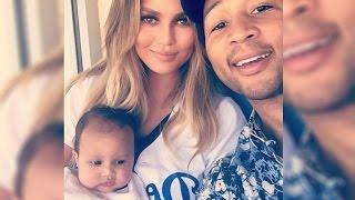 Chrissy Teigen and John Legend Take Baby Luna to LA Dodgers Game in Adorable Uniform