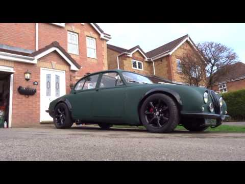 XJR into 1966 Jaguar S Type Air Ride test Resto Mod Rat Rod