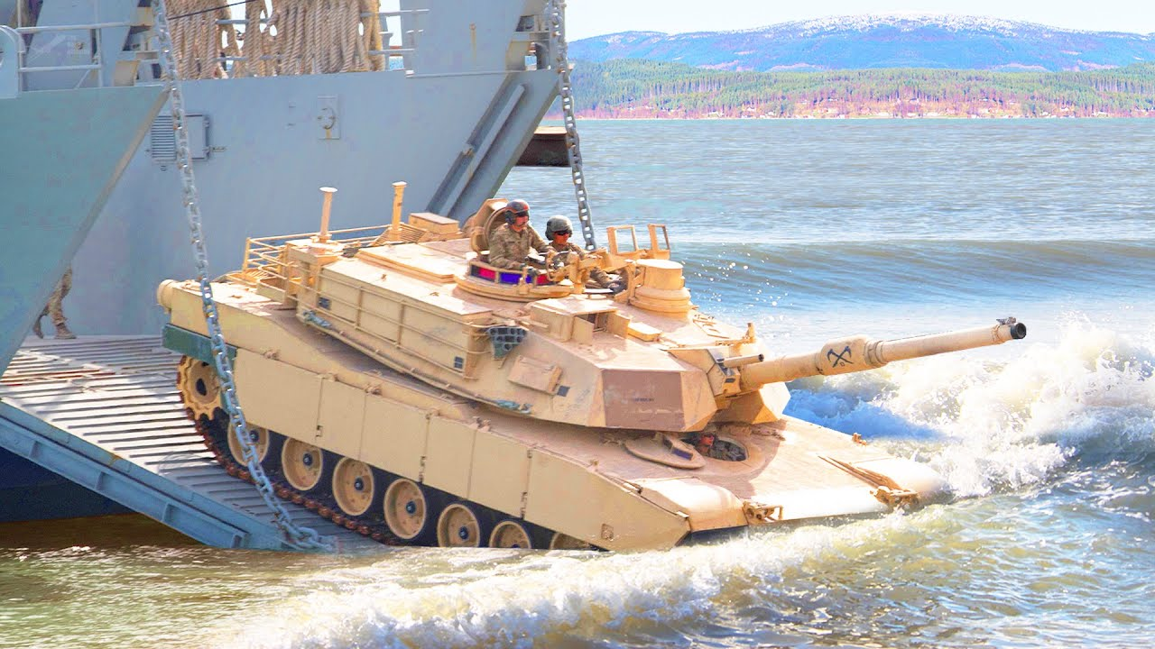 60 Tons US Tank Jump Into Water During Beach Landing