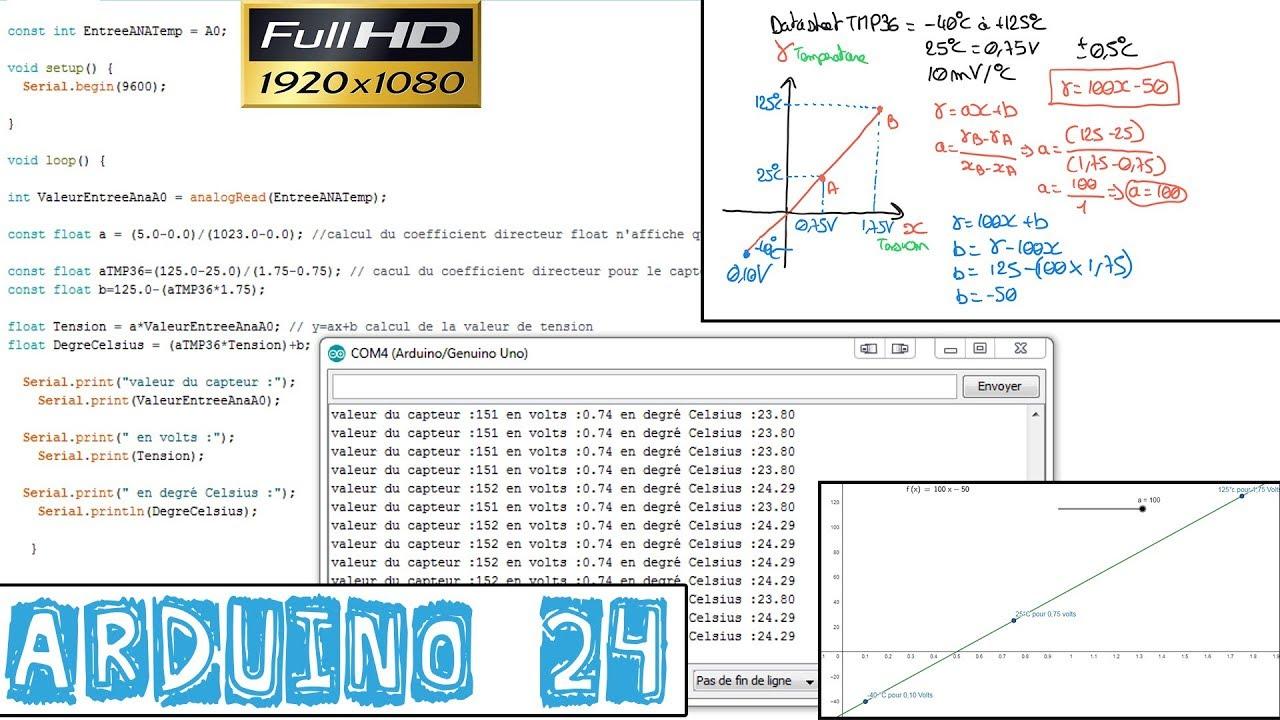 Arduino24-CONVERTIR une VALEUR de TENSION en degré CELSIUS du CAPTEUR de  TEMPÉRATURE TMP36