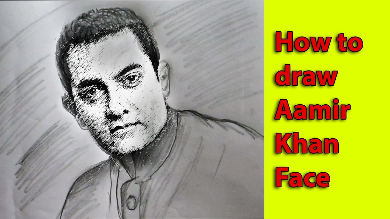 Aamir khan face drawing with pencil ✓bollywood actor aamir khan sketch ✓full hd 1080 p