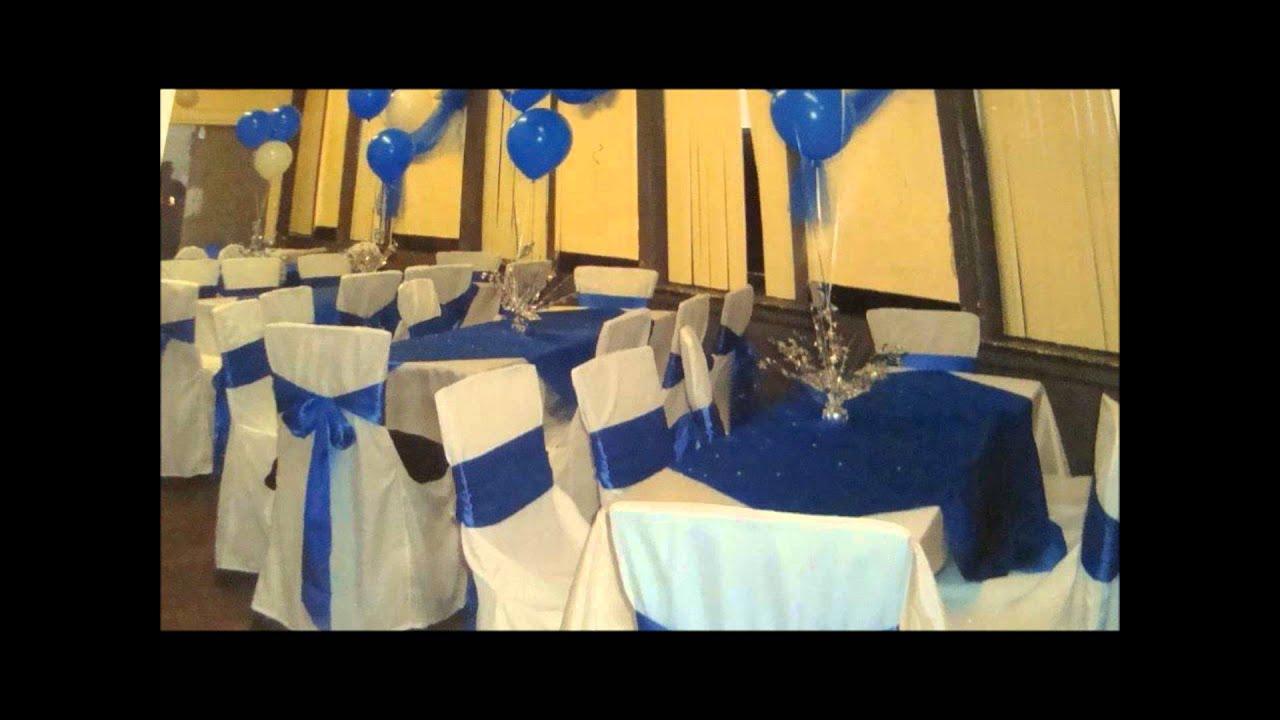 Balloon Decorations - Royal Blue Sweet 16 - YouTube