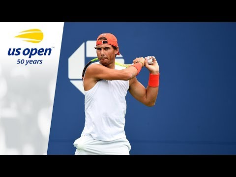 Rafael Nadal Warms Up For His R4 Match at the 2018 US Open