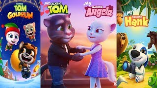 My Talking Hank vs My Talking Tom - My Talking Angela vs Talking Tom Gold Run Gameplay