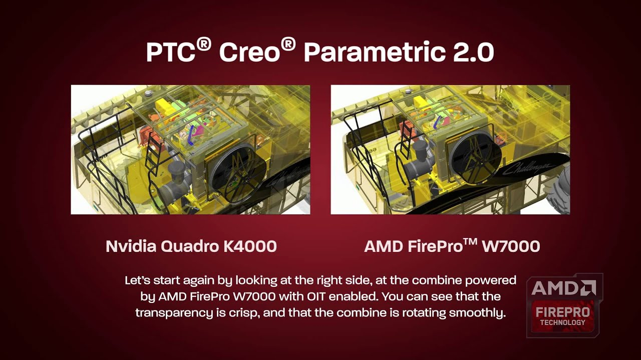 AMD FirePro W5000 vs Nvidia Quadro K2000 and W7000 vs K4000 in PTC Creo 2