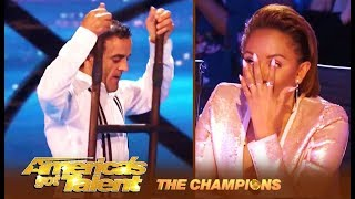 Uzeyer The Ladder Guy RE-CREATES His Viral Failed Stunt!  | America's Got Talent: Champions