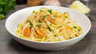Паста с креветками в сливочном соусе за 20 минут! Итальянская кухня. Рецепт от Всегда Вкусно!