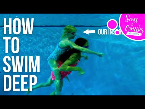 LEARNING HOW TO SWIM DEEP AND CLEAR OUR EARS WITH ELIZABETH SWIMS!! | Scott and Camber