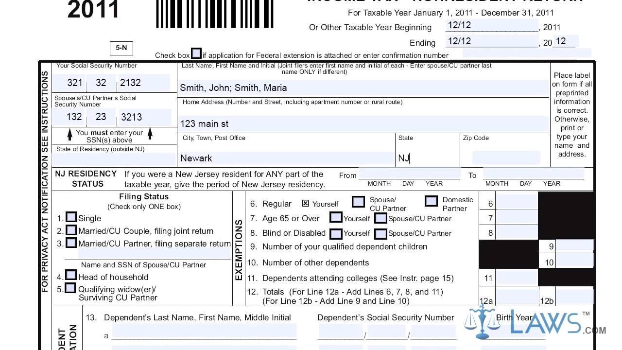 Form Nj 1040nr Income Tax Nonresident Return Youtube