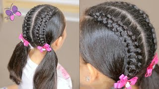 How to Line Braid into Pigtails | Braided Hairstyles | Cute Girly Hairstyles