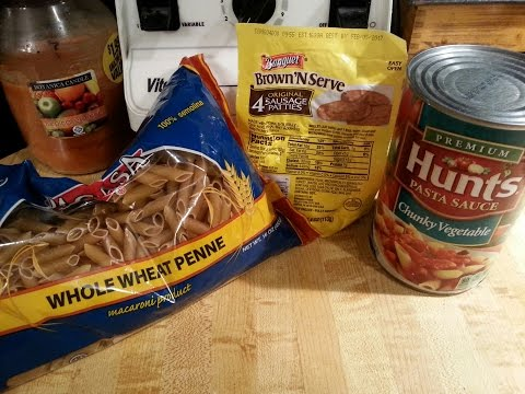 $3 Dollar Store Meal   Whole Wheat Penne Pasta With Sausage Sauce