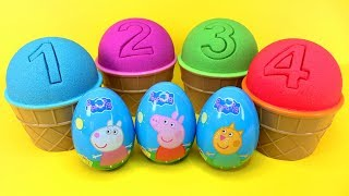 4 Colors Kinetic Sand Ice Cream Cups Learn Numbers Peppa Pig Surprise Toys Chupa Chups Kinder Eggs