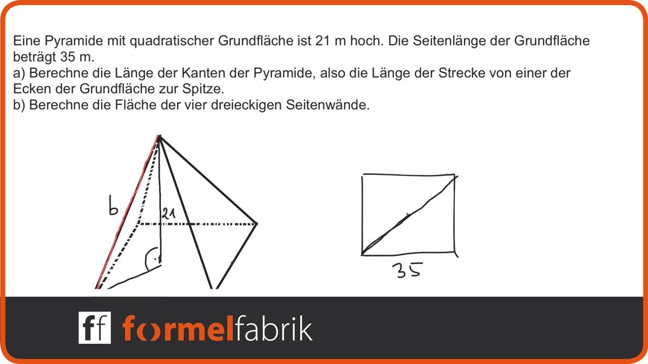 Pythagoras: Fehlende Größen in der Pyramide berechnen + Mantelfläche ...