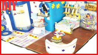 CUTE DIY DOLLHOUSE MINI BEDROOM AND BATHROOM   EASY DOLL ROOM TUTORIAL
