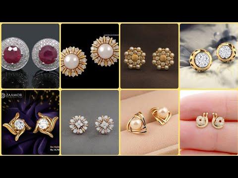 Very Good Gold & Diamond Stud Earrings For Girls & Women's || Gold Tops Designs