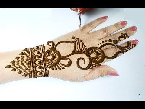 मेहँदी लगाने का आसान तरीका - Easy Mehndi Design for Backhand - Simple Mehndi Design