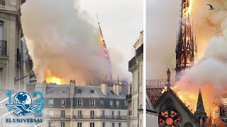 Momento exacto en que cae aguja de catedral de Notre Dame