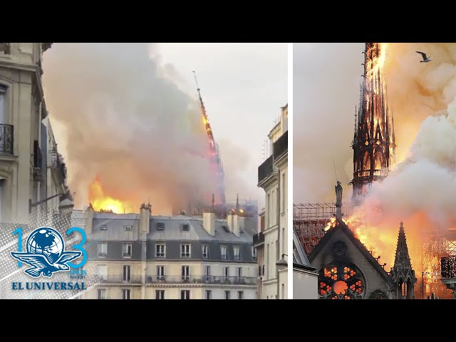 Cae aguja de catedral de Notre Dame