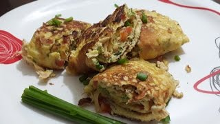 Perfect Egg Roll Recipe   Omelette Roll With chicken and cheese   Egg Roll
