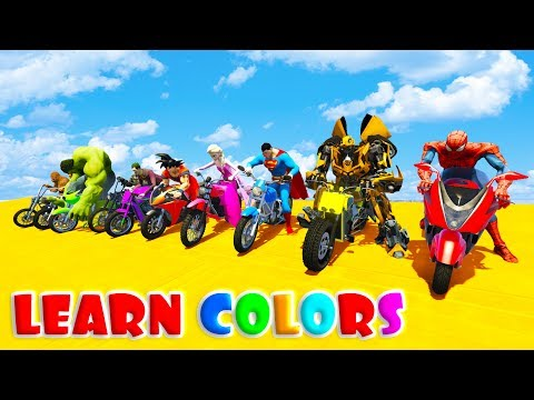 Thumbnail: LEARN COLOR FUN BIKES JUMPING with Superheroes Cartoon for kids 3D animation
