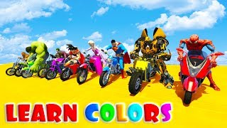 LEARN COLOR FUN BIKES JUMPING with Superheroes Cartoon for kids 3D animation