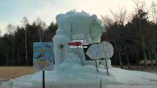 西湖樹氷まつりに行き「さかなクン」のクニマスを見つけました。