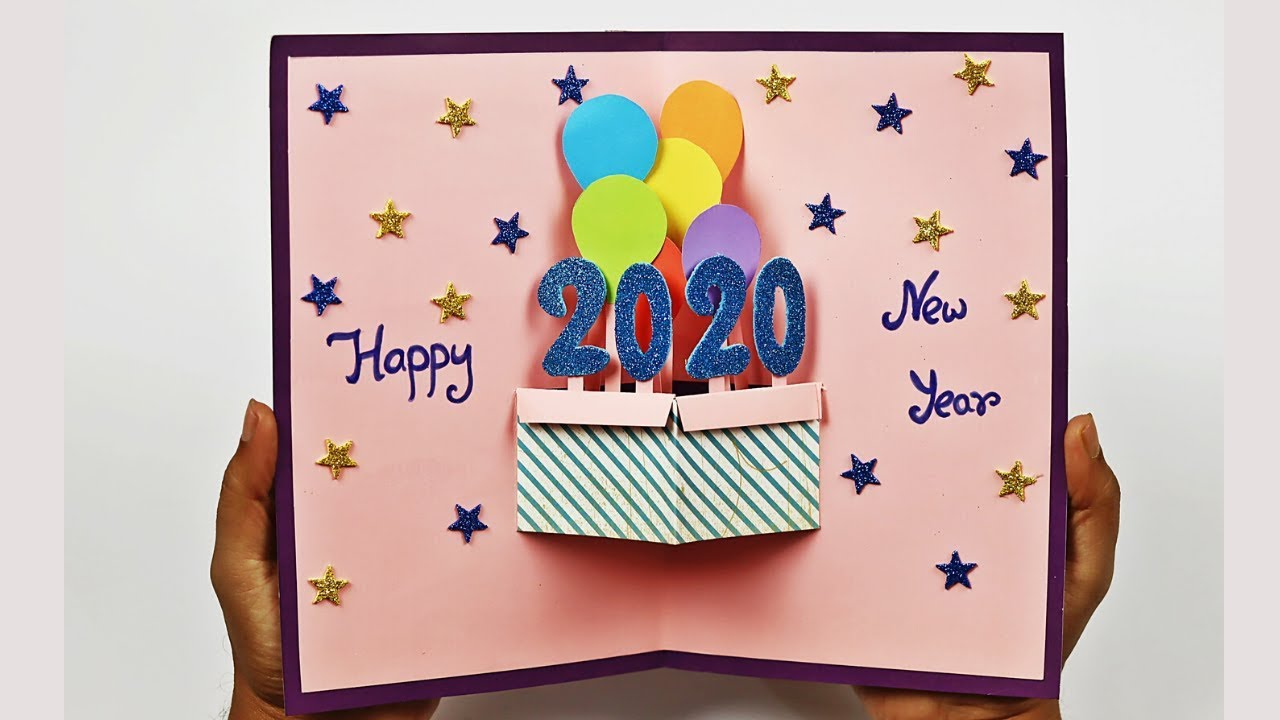 3D Pop Up Paper-cutting Greeting Card Handmade New Year Friend Cards Present Hot