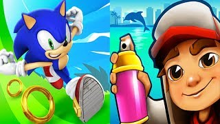 Sonic Dash VS Subway Surfers Miami Android iPad iOS Gameplay HD