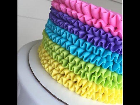 Rainbow Buttercream Ruffle Cake Time Lapse Tutorial Youtube