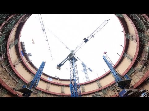 3,000 workers conduct 60th practice on dome installation for nuke power unit