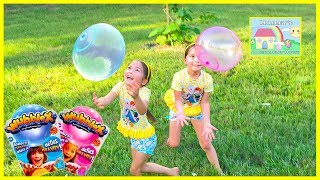 Playing with Wubble Bubble Ball X in our Backyard and Surprise Eggs!