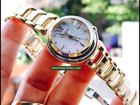 (REVIEW ĐỒNG HỒ) CITIZEN EM0336-59D ECO DRIVE GOLD LADIES WATCH 30MM | TIMEWISE