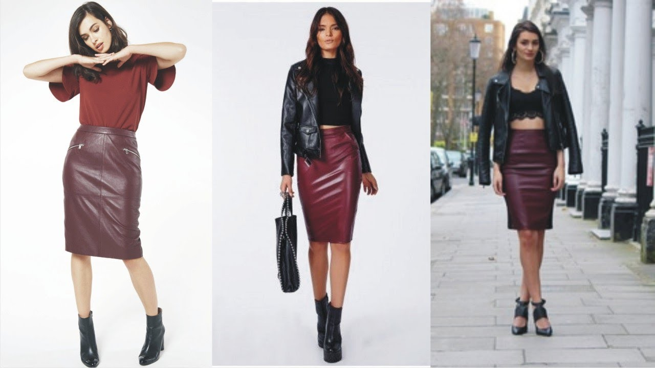 Oasis Faux Leather Pencil Skirt Burgundy 1