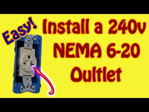 how to wire a 240 volt (220) outlet for an air compressor - nema 6-20 -  12-2 wire - 20 amp breaker
