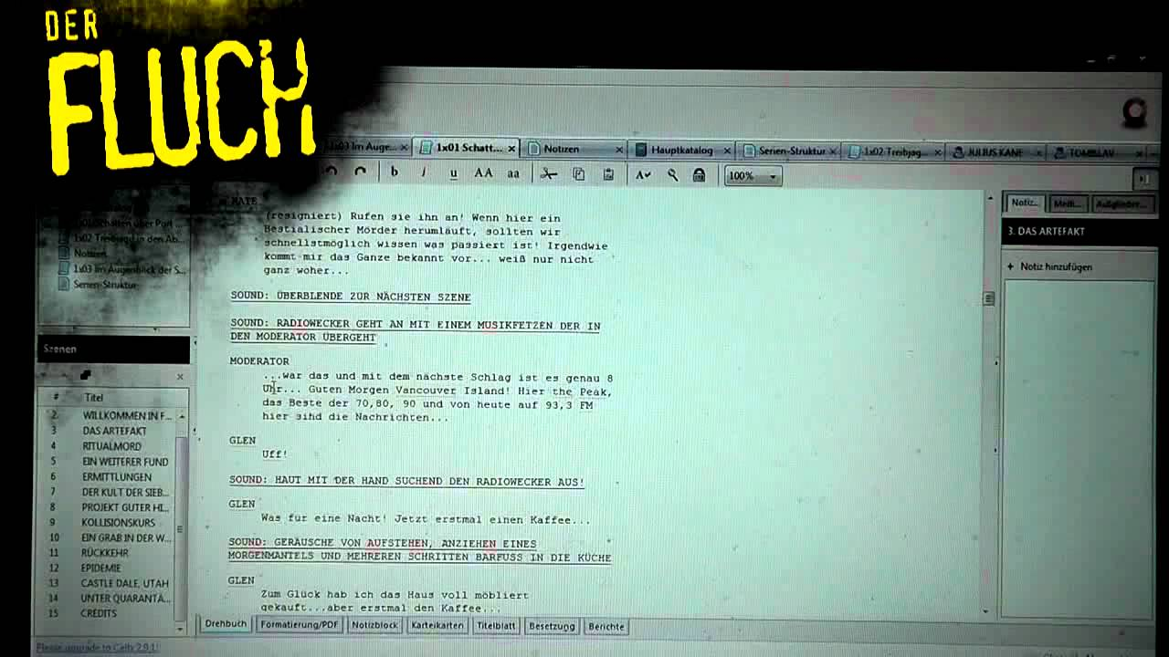Der Fluch - Wie ein Skript entsteht (1) - YouTube
