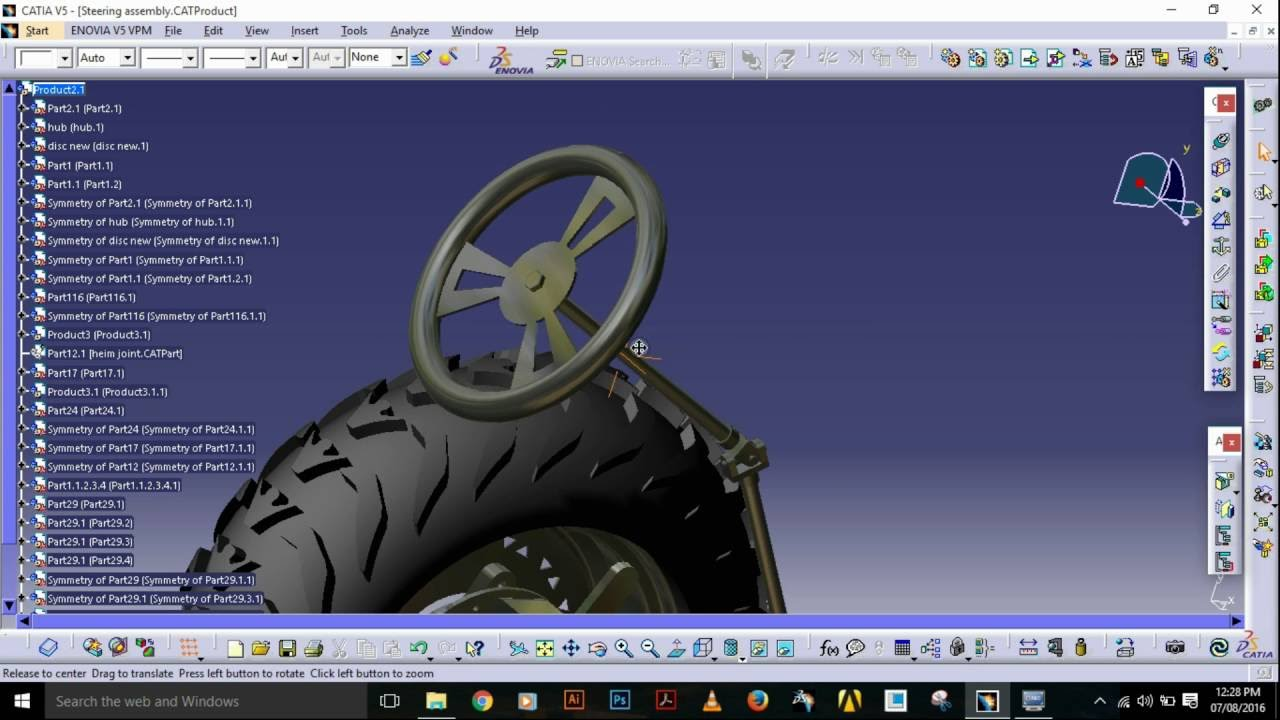 Cad Model Of A Steering Assembly Catia