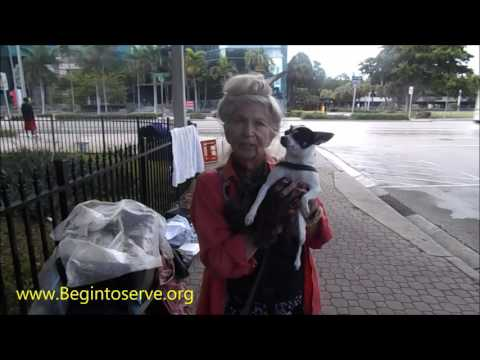 Homeless Woman Happy To Get Her Sleeping Bag