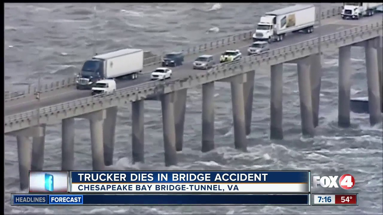 High winds blows truck off bridge
